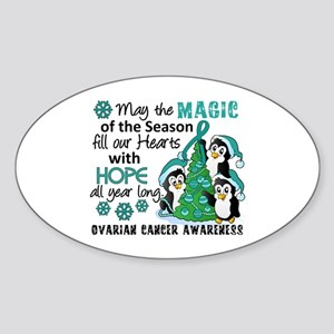 Holiday Penguins Ovarian Cancer Sticker (Oval)