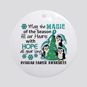 Holiday Penguins Ovarian Cancer Ornament (Round)