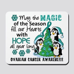 Holiday Penguins Ovarian Cancer Mousepad