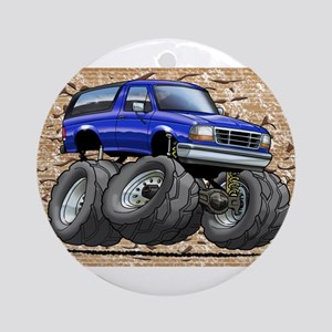 95_Blue_Bronco Ornament (Round)