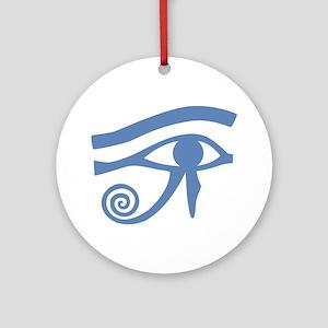Blue Eye of Horus Hieroglyphic Ornament (Round)