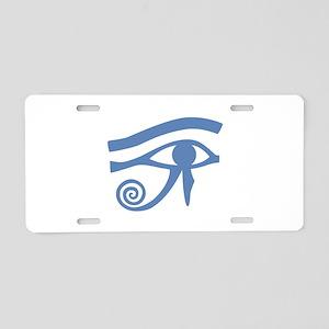 Blue Eye of Horus Hieroglyphic Aluminum License Pl