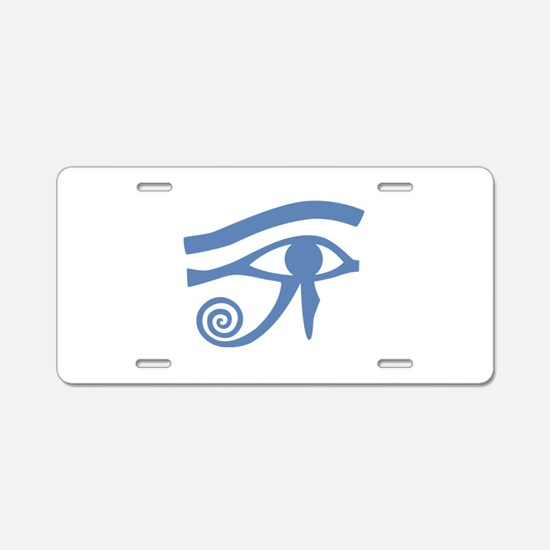 Blue Eye of Horus Hieroglyphic Aluminum License Pl