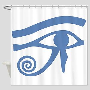 Blue Eye of Horus Hieroglyphic Shower Curtain