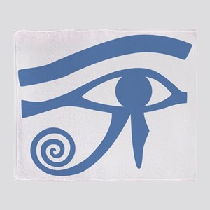 Blue Eye of Horus Hieroglyphic Throw Blanket