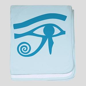 Blue Eye of Horus Hieroglyphic baby blanket