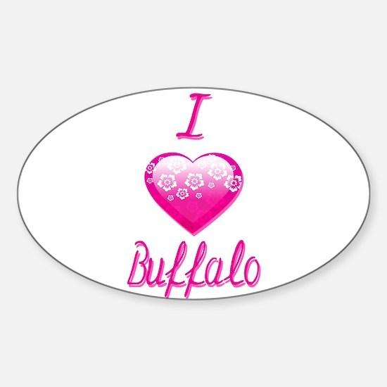 I Love/Heart Buffalo Sticker (Oval)