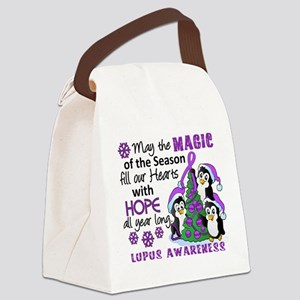 Holiday Penguins Lupus Canvas Lunch Bag