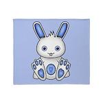 Kawaii Blue Bunny Throw Blanket