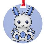 Kawaii Blue Bunny Round Ornament