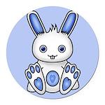 Kawaii Blue Bunny Round Car Magnet