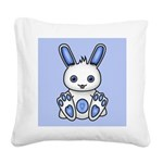 Kawaii Blue Bunny Square Canvas Pillow