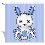 Kawaii Blue Bunny Shower Curtain