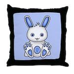 Kawaii Blue Bunny Throw Pillow
