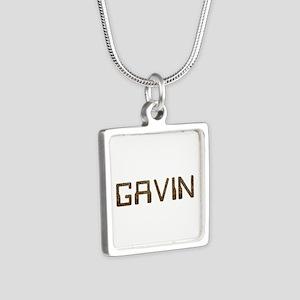 Gavin Circuit Silver Square Necklace