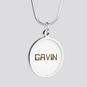 Gavin Circuit Silver Round Necklace