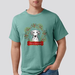 Dalmation Christmas Wrea Mens Comfort Colors Shirt