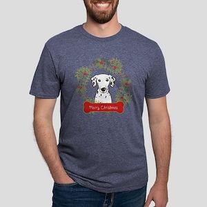 Dalmation Christmas Wreath Mens Tri-blend T-Shirt