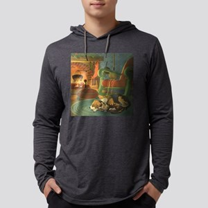 Vintage Christmas Pets Mens Hooded Shirt