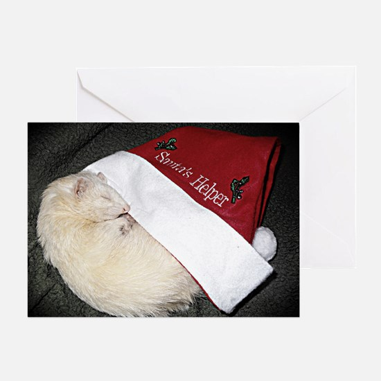 Santas Fuzzy Helper Greeting Card