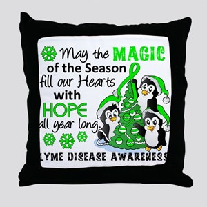 Holiday Penguins Lyme Disease Throw Pillow