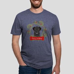 Black Lab Christmas Wreath Mens Tri-blend T-Shirt