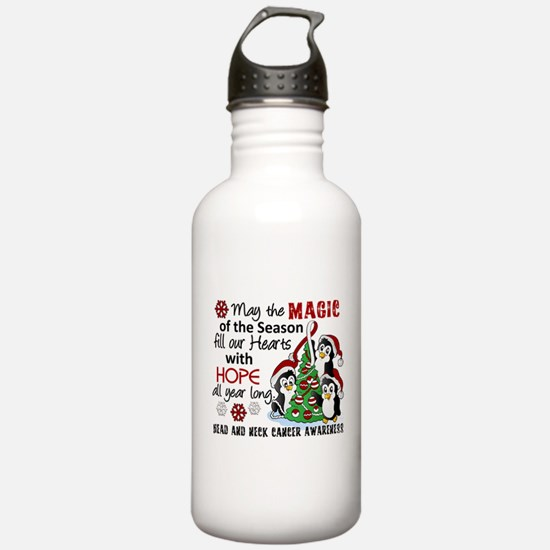 Holiday Penguins Head and Neck Cancer Water Bottle