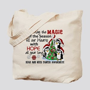 Holiday Penguins Head and Neck Cancer Tote Bag