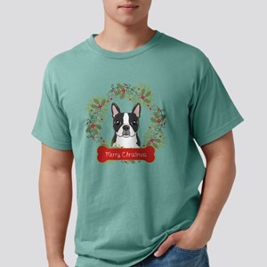 Boston Terrier Christmas Mens Comfort Colors Shirt
