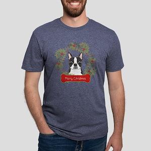 Boston Terrier Christmas Wr Mens Tri-blend T-Shirt