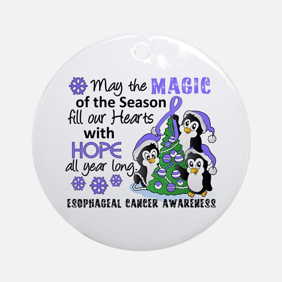 Holiday Penguins Esophageal Cancer Ornament (Round