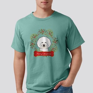 Bichon Christmas Wreath Mens Comfort Colors Shirt