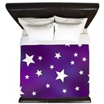 Purple and White Star Pattern King Duvet