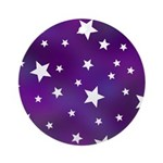 Purple and White Star Pattern Ornament (Round)