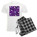 Purple and White Star Pattern Men's Light Pajamas