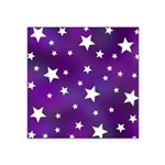 Purple and White Star Pattern Square Sticker 3
