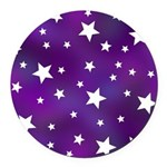 Purple and White Star Pattern Round Car Magnet