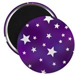 Purple and White Star Pattern Magnet