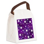 Purple and White Star Pattern Canvas Lunch Bag