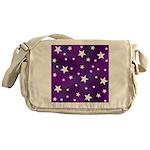 Purple and White Star Pattern Messenger Bag