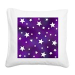 Purple and White Star Pattern Square Canvas Pillow