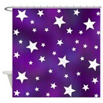 Purple and White Star Pattern Shower Curtain