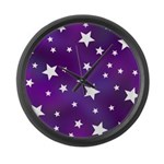 Purple and White Star Pattern Large Wall Clock