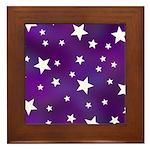 Purple and White Star Pattern Framed Tile