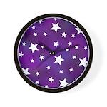 Purple and White Star Pattern Wall Clock