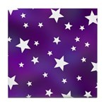 Purple and White Star Pattern Tile Coaster