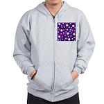 Purple and White Star Pattern Zip Hoodie