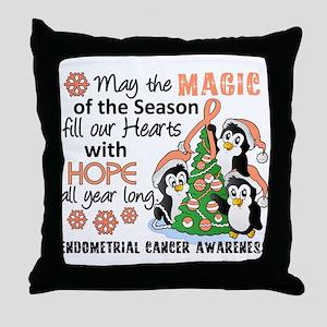 Holiday Penguins Endometrial Cancer Throw Pillow