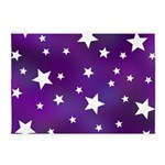 Purple and White Star Pattern 5'x7'Area Rug