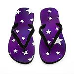 Purple and White Star Pattern Flip Flops